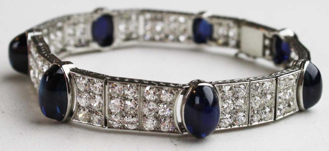 Platinum, diamond, & sapphire bracelet