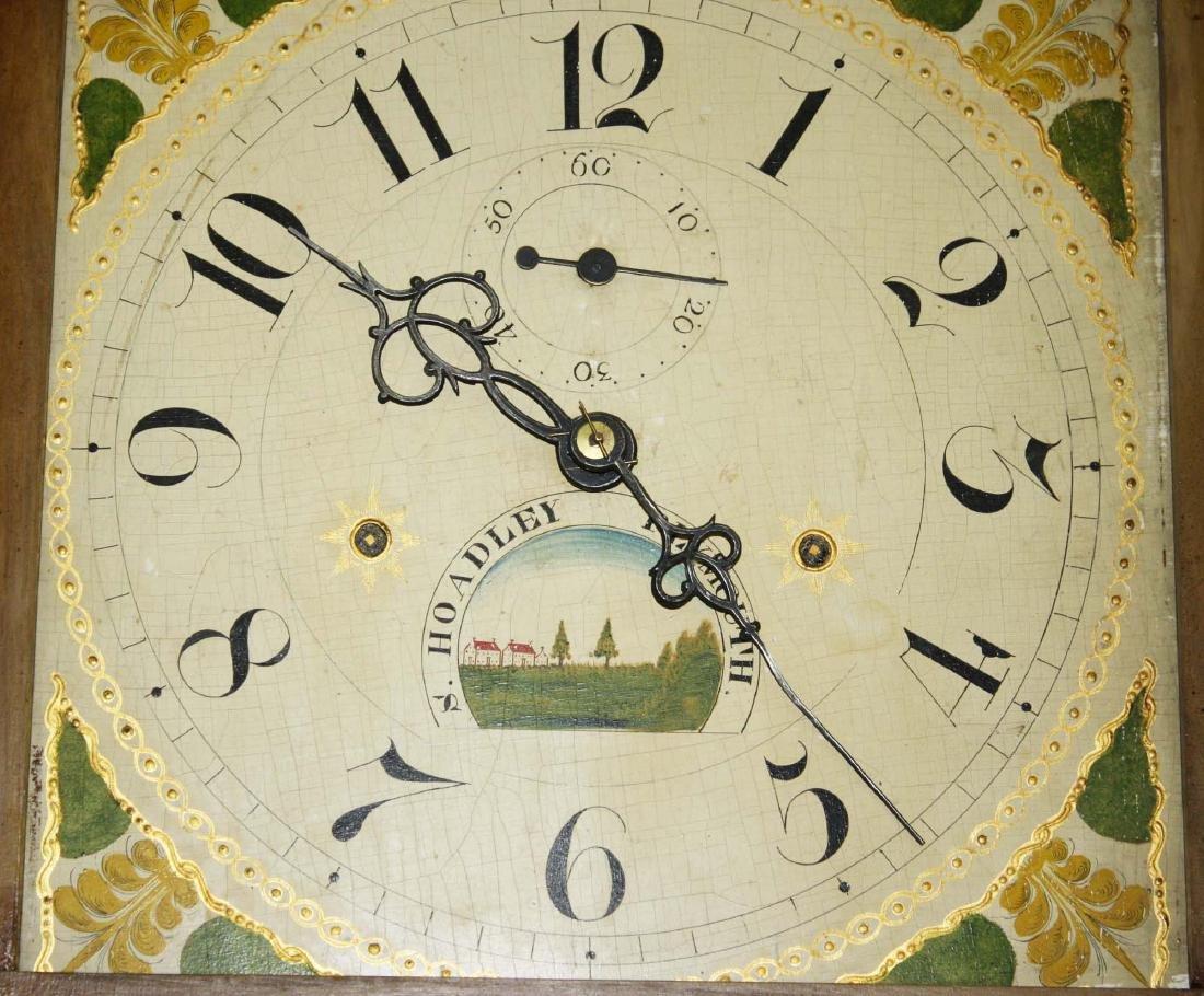 Folk art painted Silas Hoadley tall case clock - 2