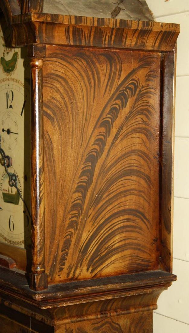 Folk art painted Silas Hoadley tall case clock - 3