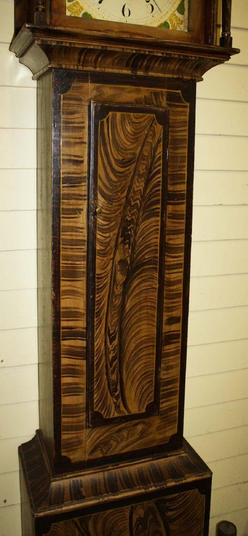 Folk art painted Silas Hoadley tall case clock - 4
