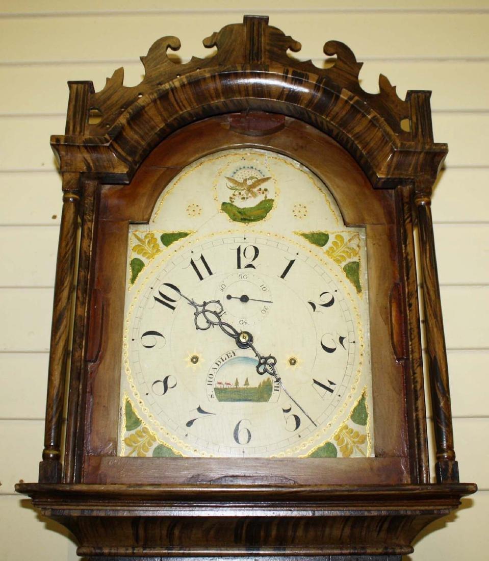 Folk art painted Silas Hoadley tall case clock - 6