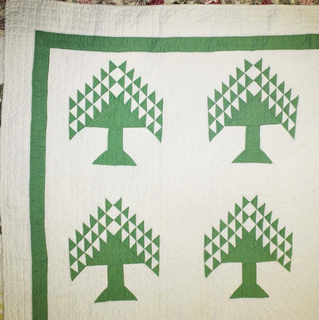 early 20th c pine tree pattern pieced quilt - 2