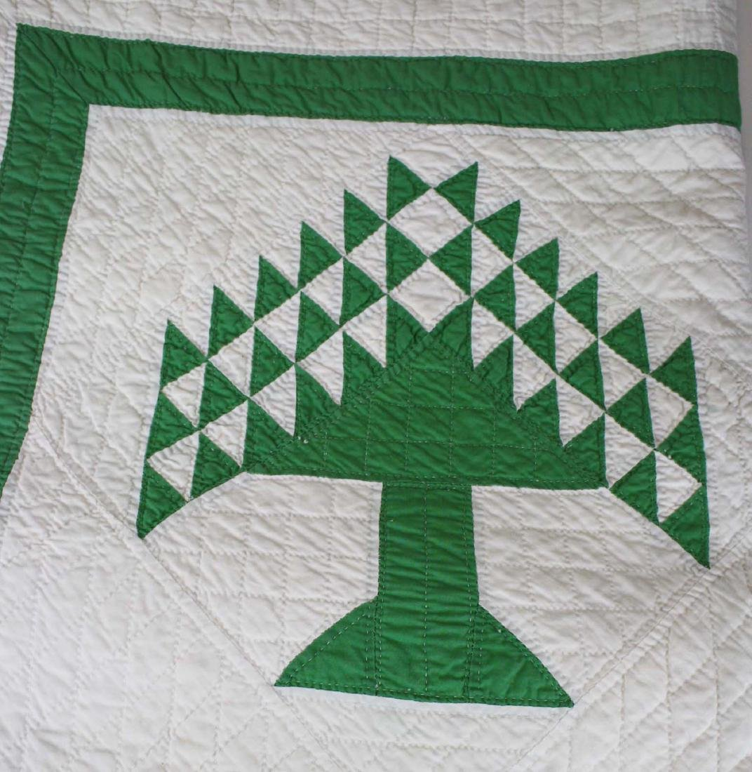 early 20th c pine tree pattern pieced quilt - 4