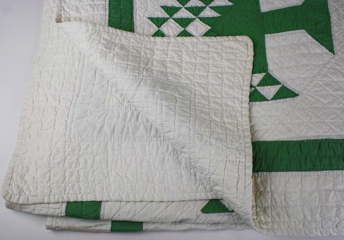 early 20th c pine tree pattern pieced quilt - 8
