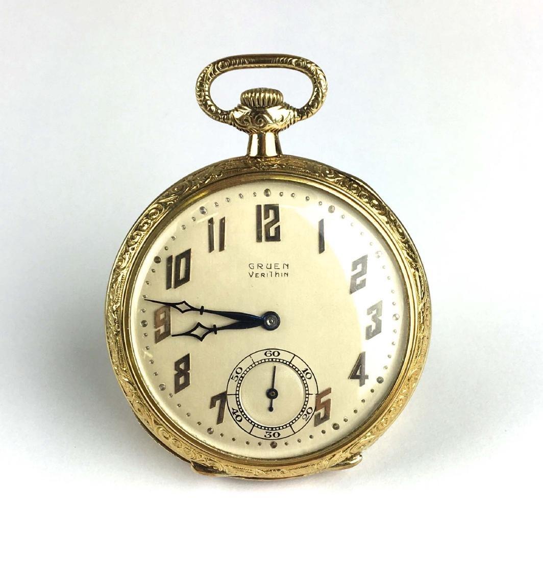 Gruen 14k yellow gold open face pocket watch