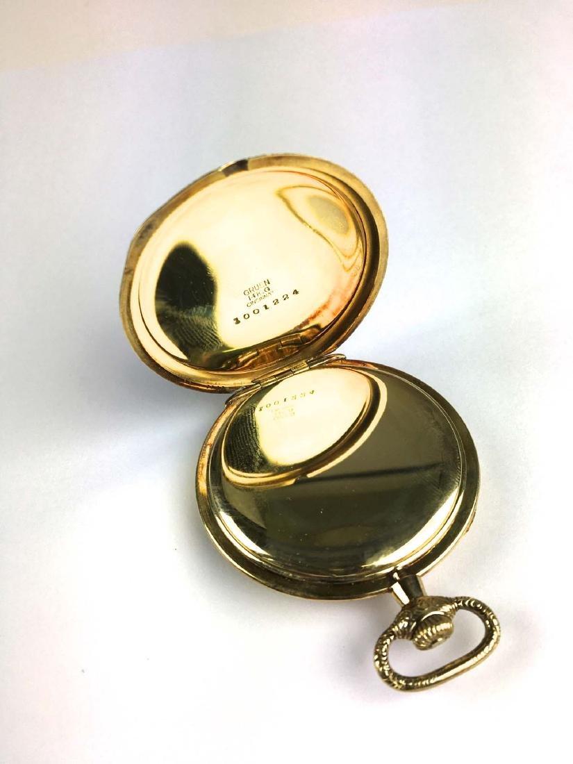 Gruen 14k yellow gold open face pocket watch - 2
