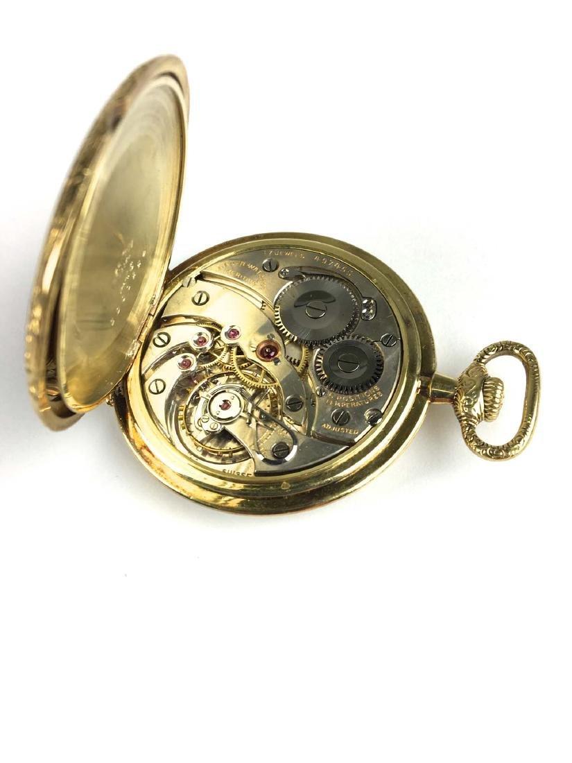 Gruen 14k yellow gold open face pocket watch - 3