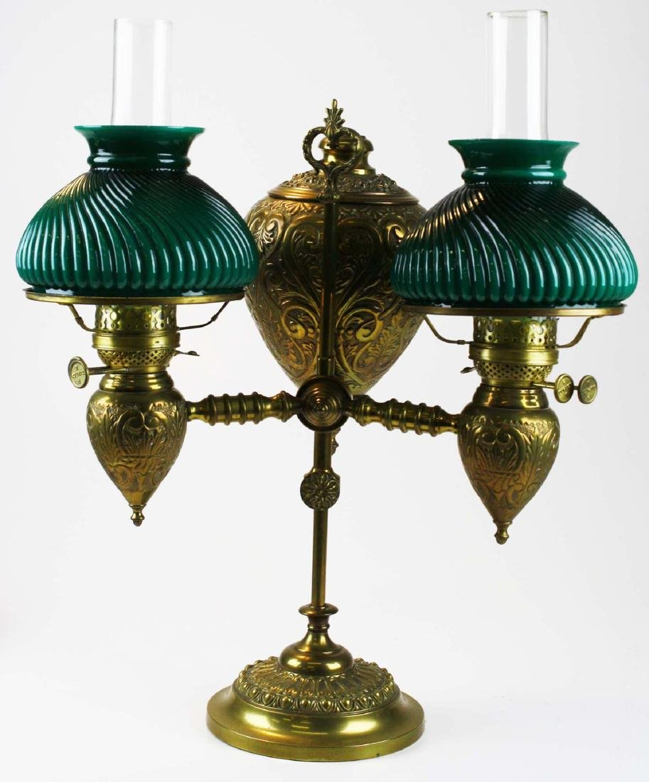 19th c brass student lamp w/ emeralite type shades