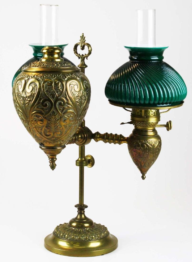 19th c brass student lamp w/ emeralite type shades - 2
