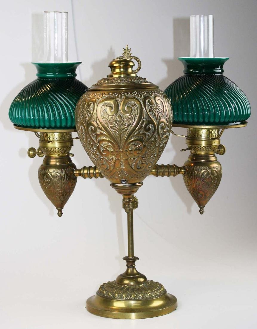 19th c brass student lamp w/ emeralite type shades - 6