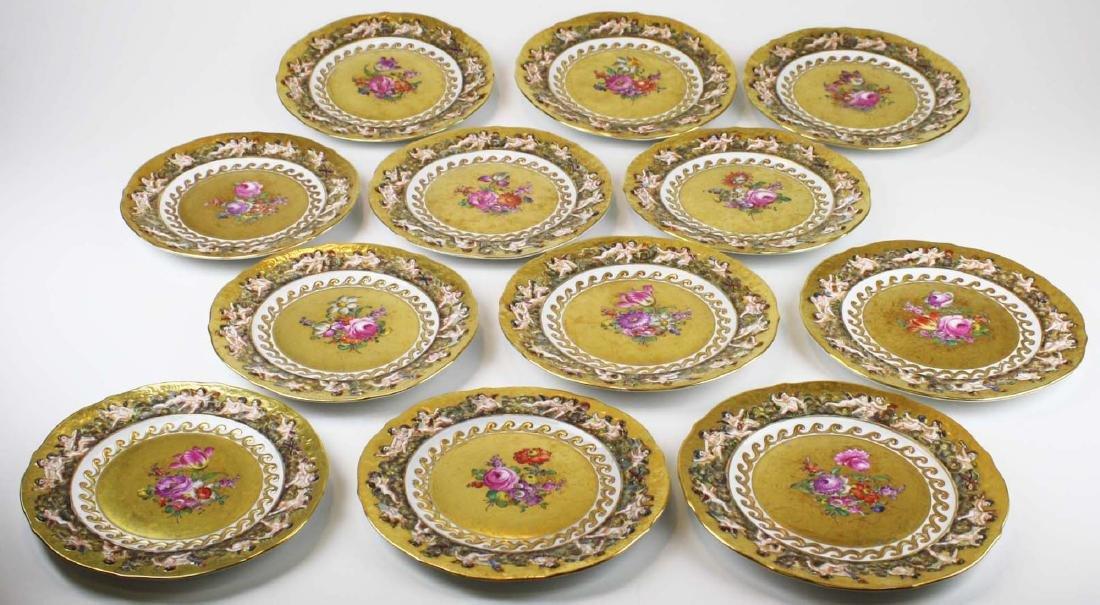 set of 12 old Capo di Monte plates w/ cherub border - 2