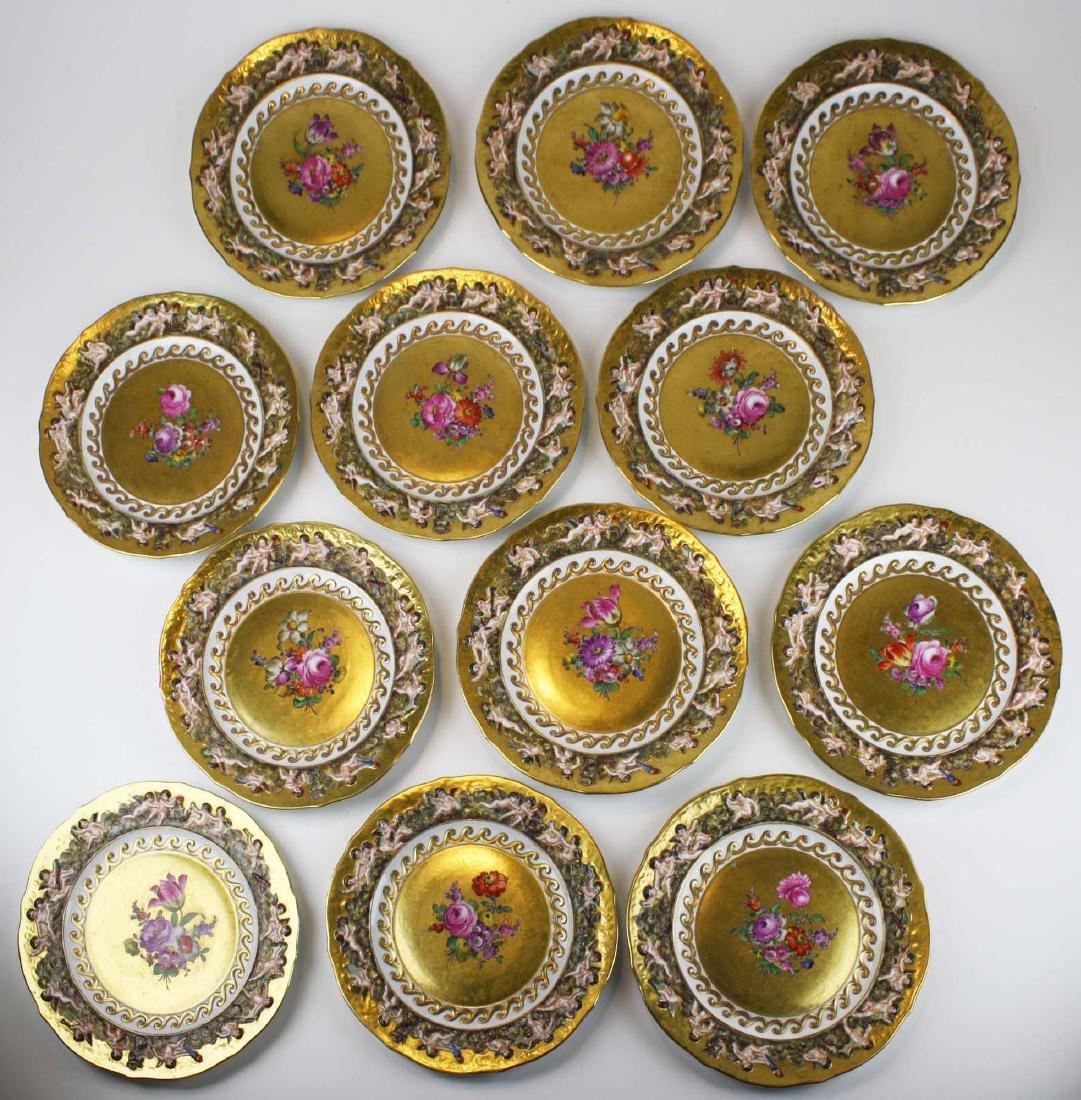 set of 12 old Capo di Monte plates w/ cherub border - 3