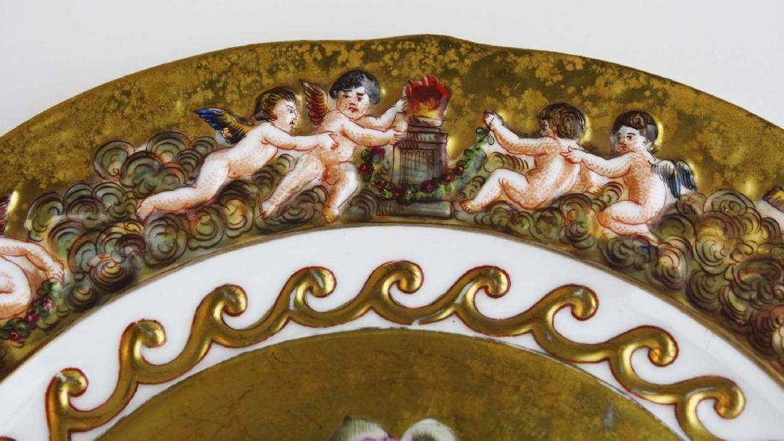 set of 12 old Capo di Monte plates w/ cherub border - 5