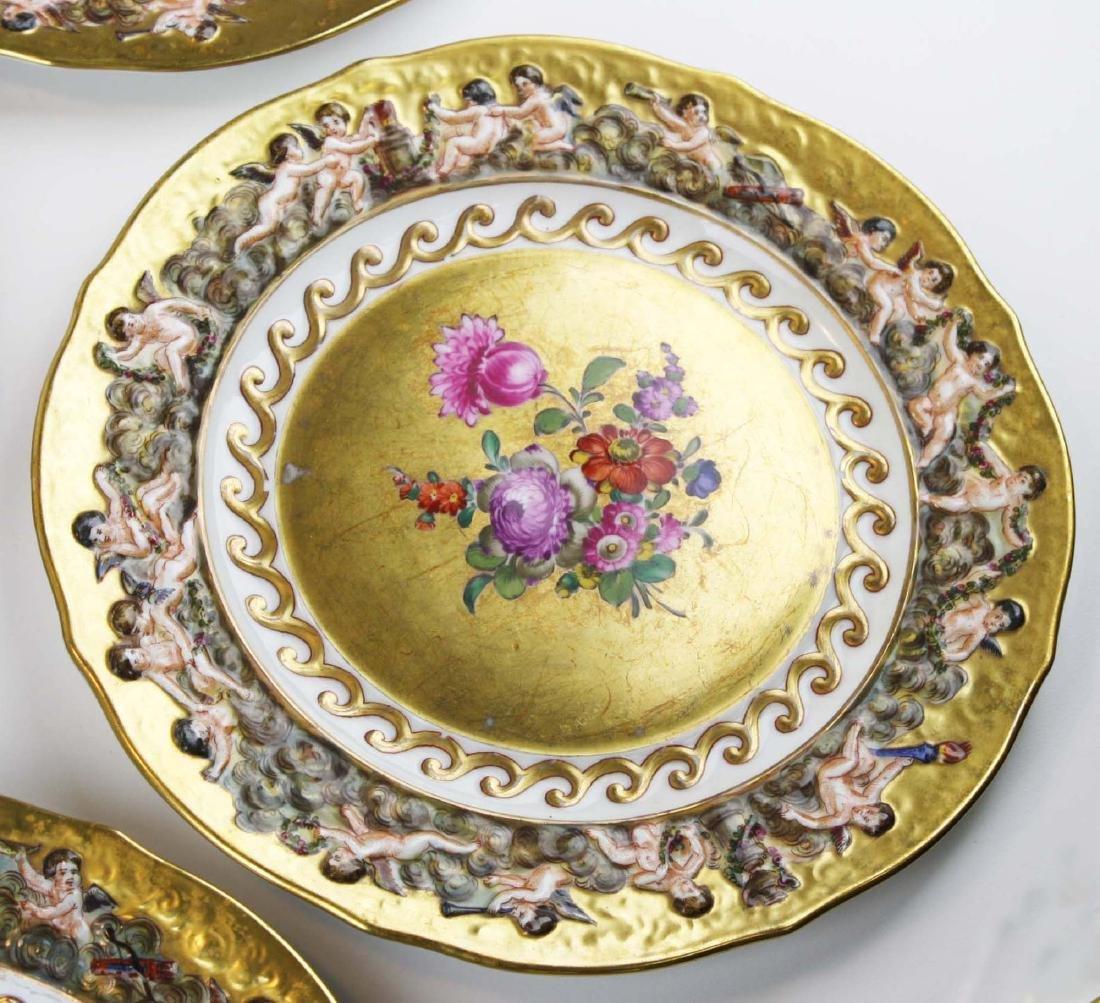 set of 12 old Capo di Monte plates w/ cherub border - 7