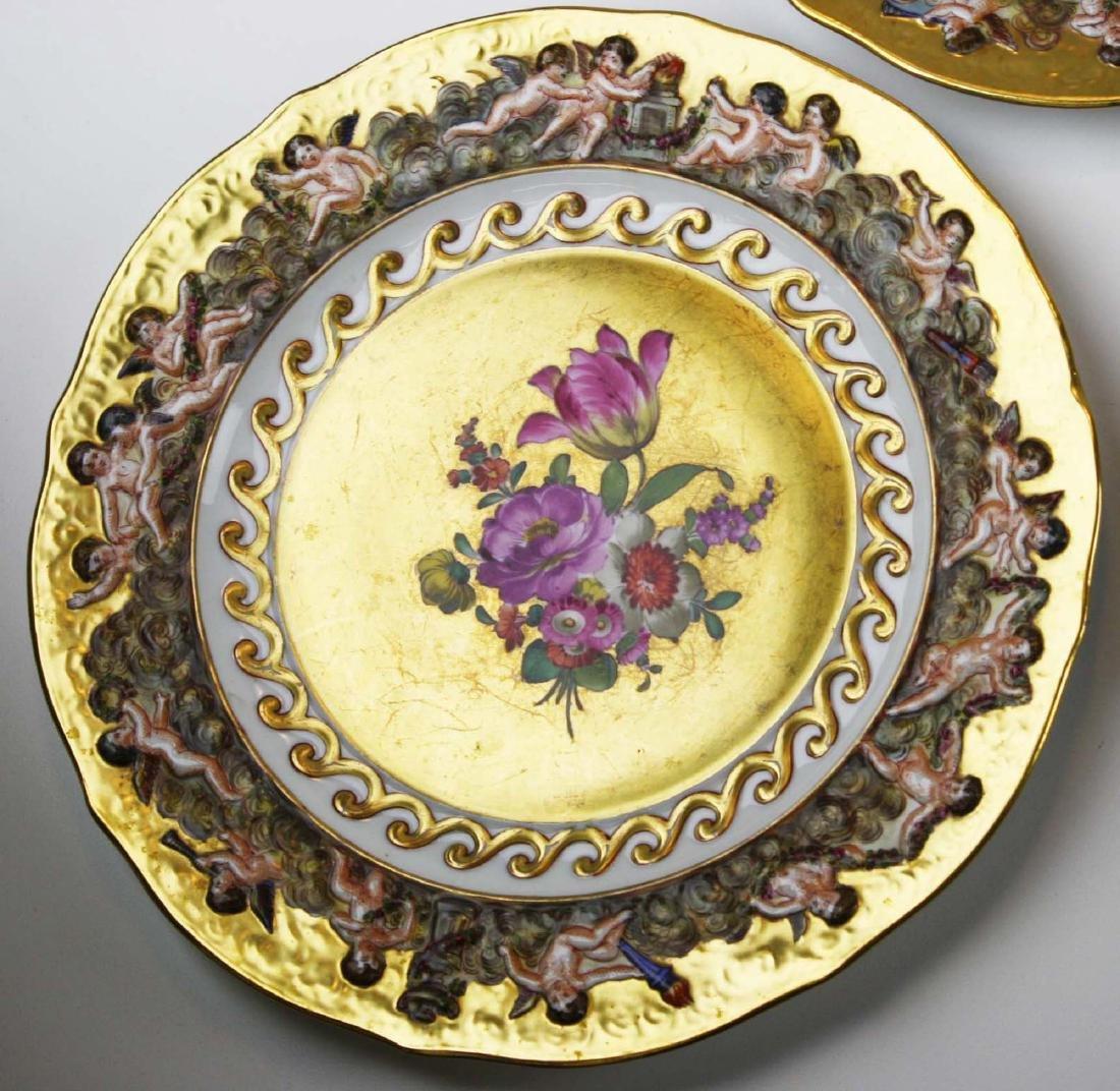 set of 12 old Capo di Monte plates w/ cherub border - 8