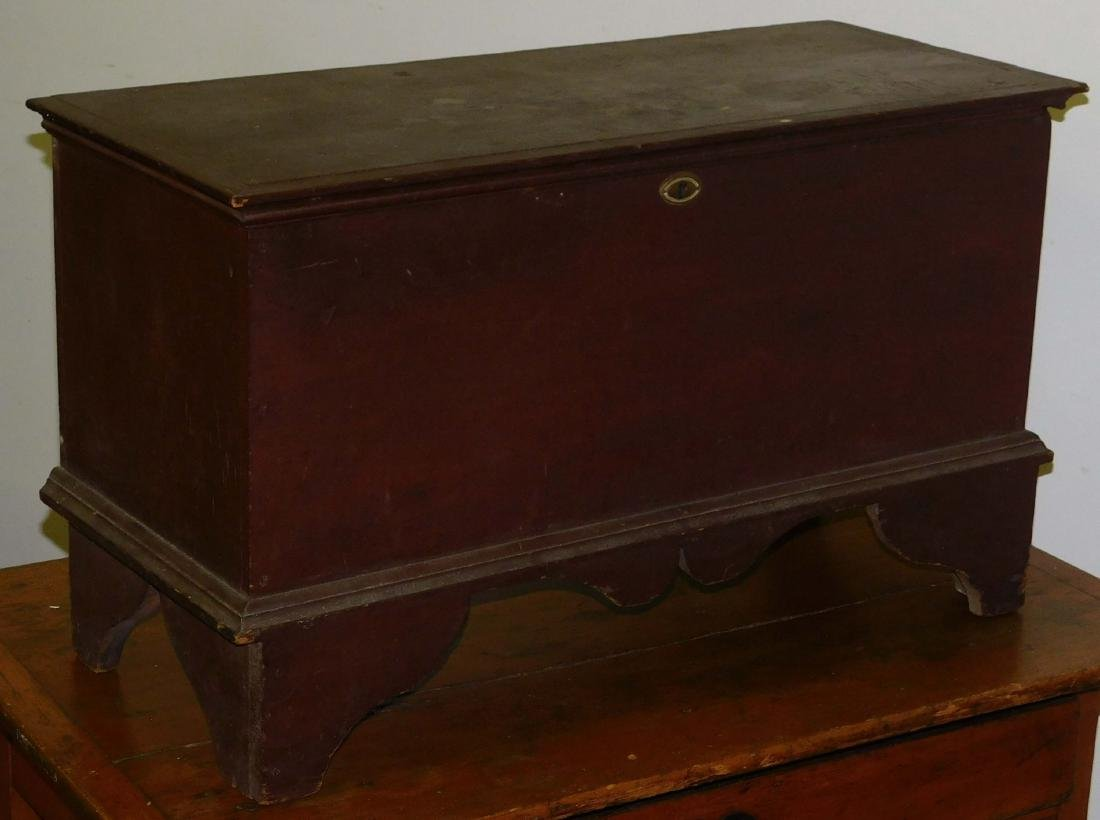 18th c Queen Anne red painted blanket chest