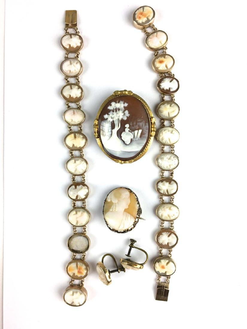 Victorian cameo bracelets, brooches, & earrings