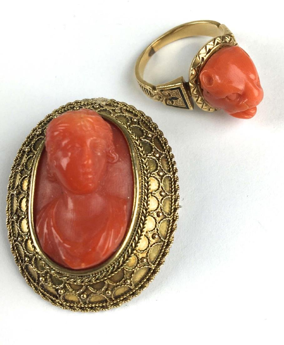 Victorian red cameo brooch and ring