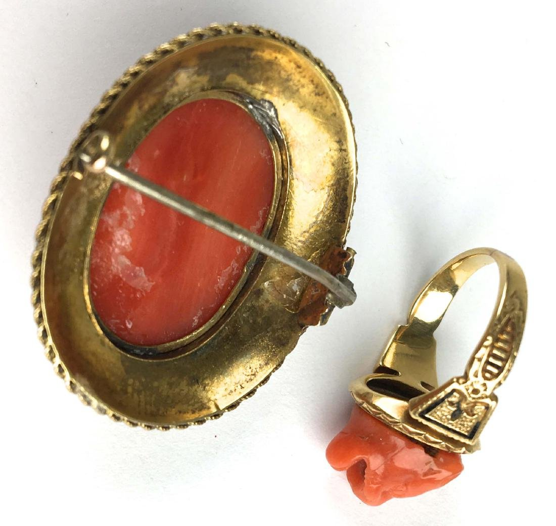 Victorian red cameo brooch and ring - 2