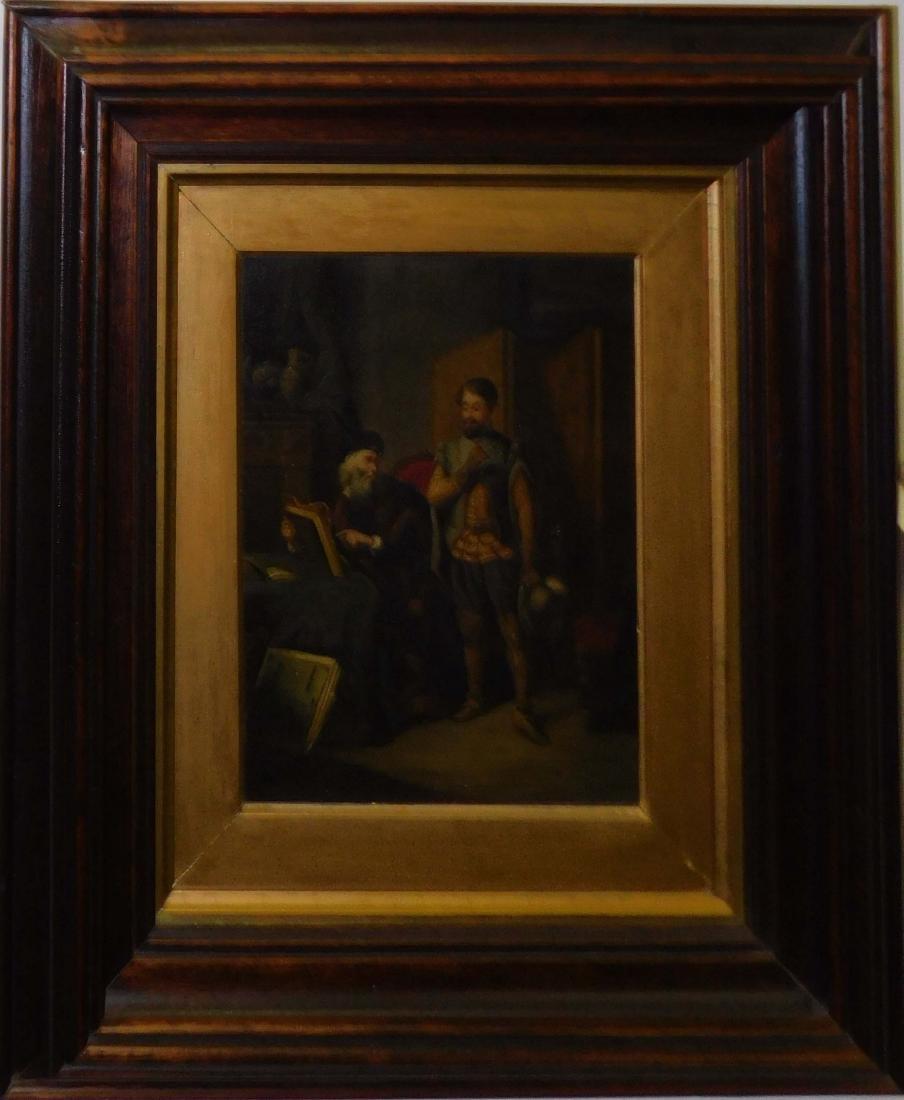 "19th c oil on canvas genre scene ""The Connoisseur'"