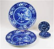early 19th c deep blue Staffordshire china