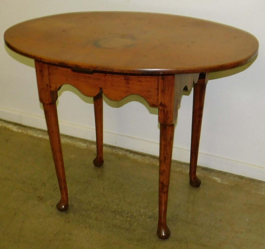 18th c Queen Anne maple oval top tea table