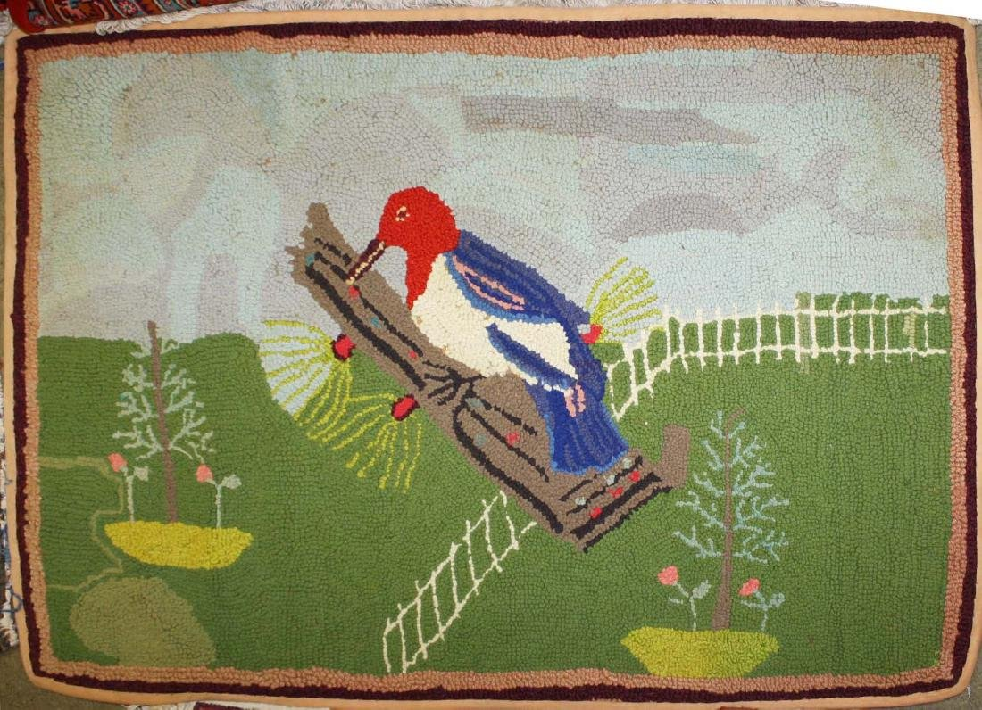 early 20th c folky woodpecker hooked rug