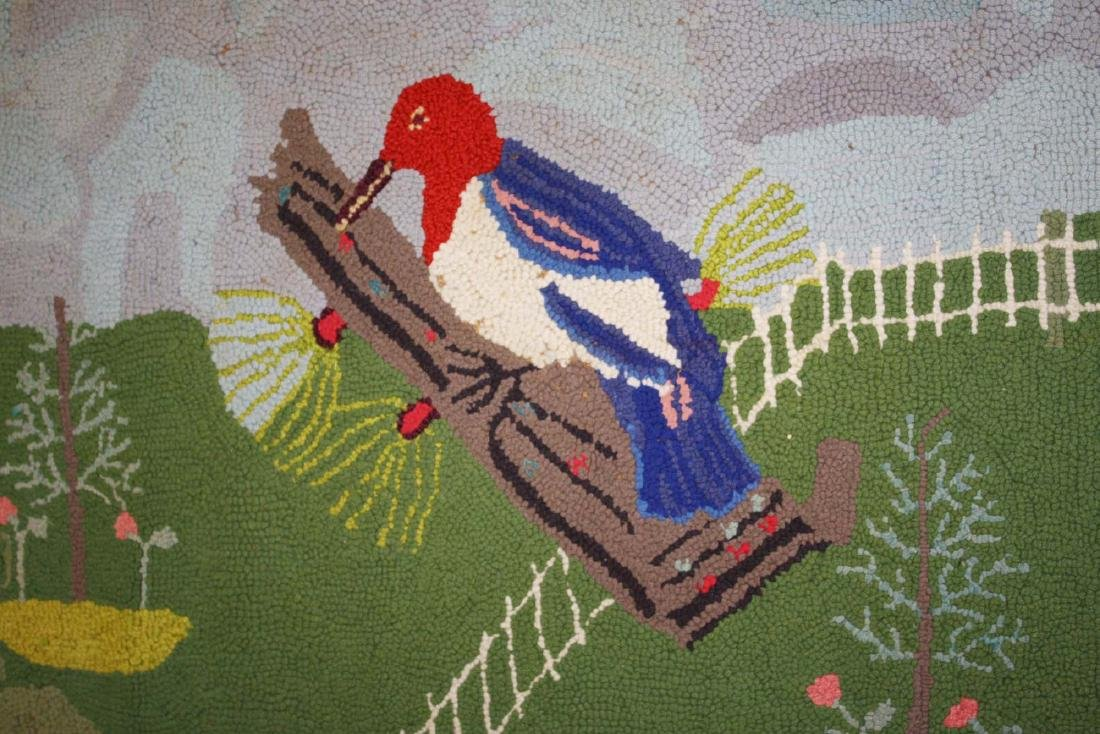 early 20th c folky woodpecker hooked rug - 2