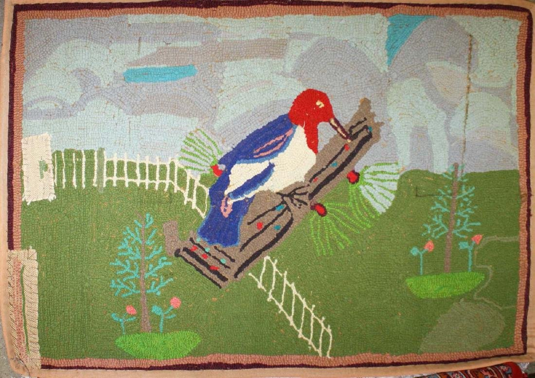 early 20th c folky woodpecker hooked rug - 3