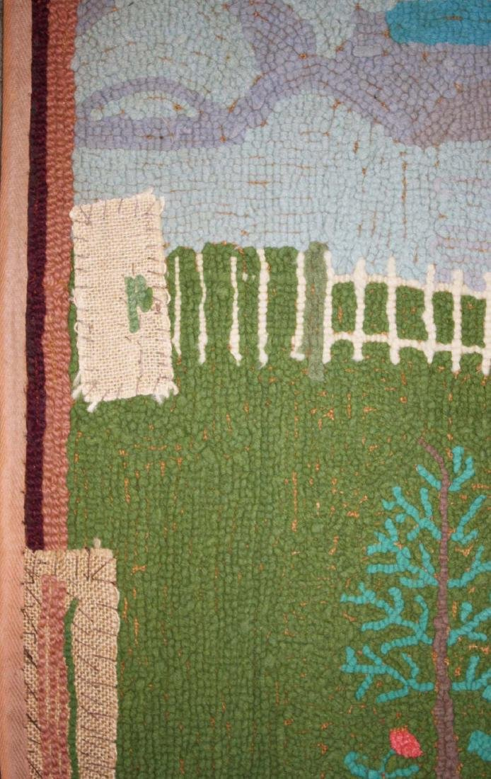 early 20th c folky woodpecker hooked rug - 4
