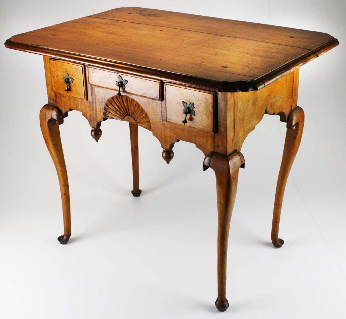 19th c Queen Anne curly maple lowboy