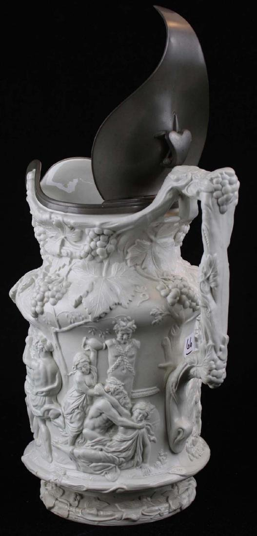 19th c English parian pewter lidded pitcher - 3