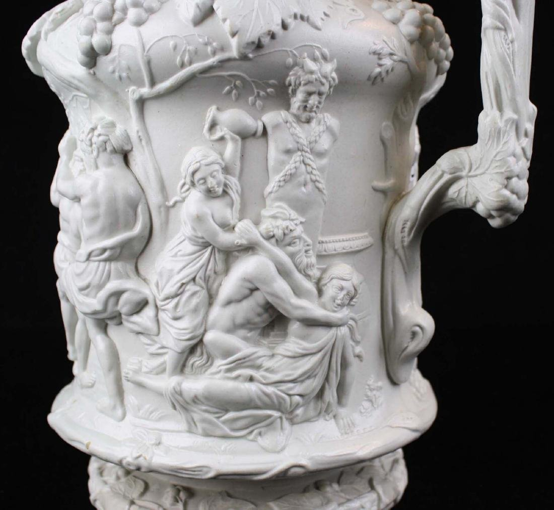 19th c English parian pewter lidded pitcher - 8