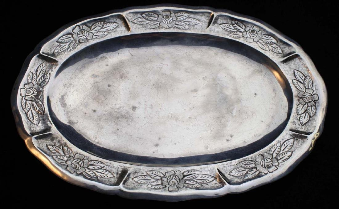 Maciel Mexico sterling silver repousse oval tray