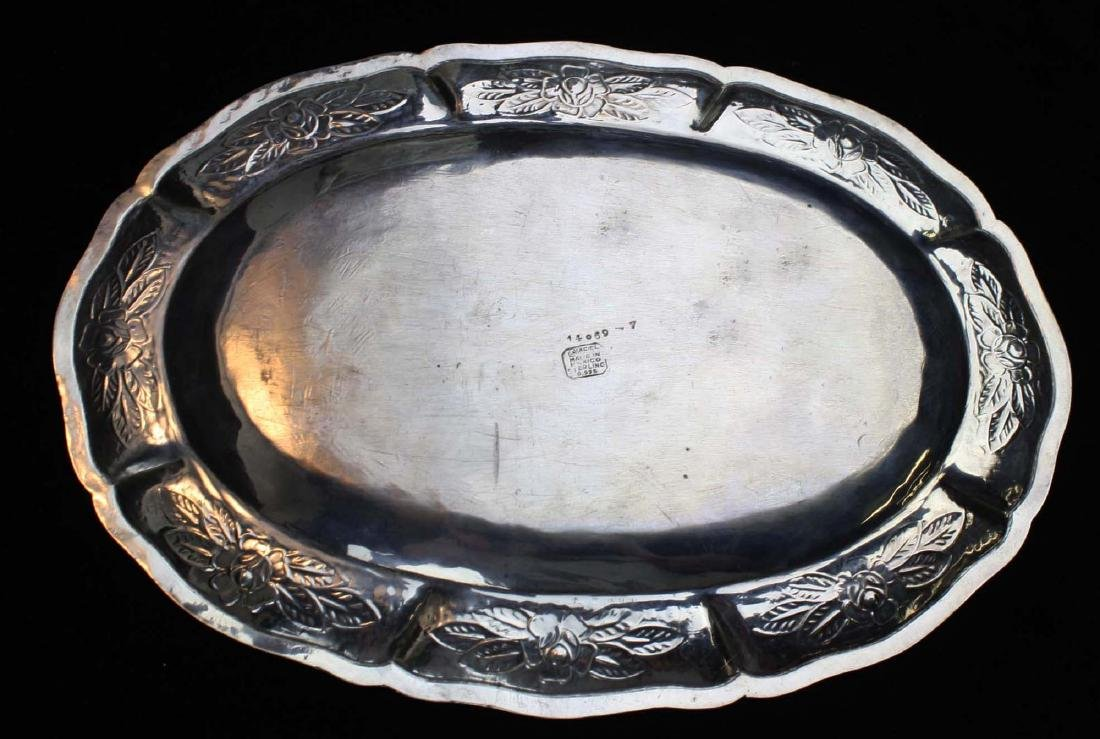 Maciel Mexico sterling silver repousse oval tray - 3