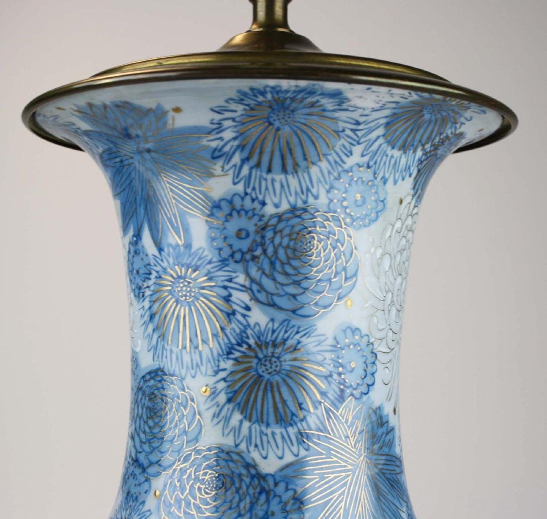 Japanese Fujita Kutani blue chrysanthmum vase/ lamp - 2