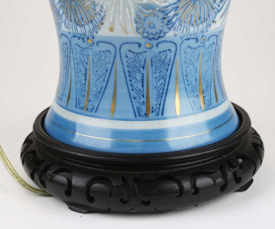 Japanese Fujita Kutani blue chrysanthmum vase/ lamp - 5