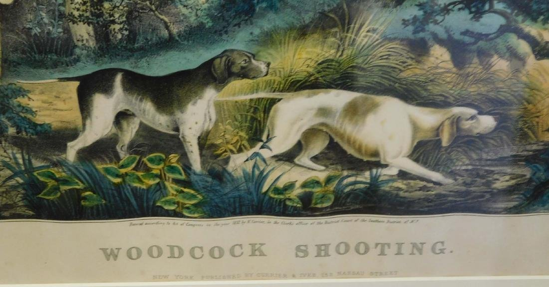 Currier and Ives med folio lithograph Woodcock Shooting - 2