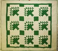 early 20th c pine tree pattern hooked rug