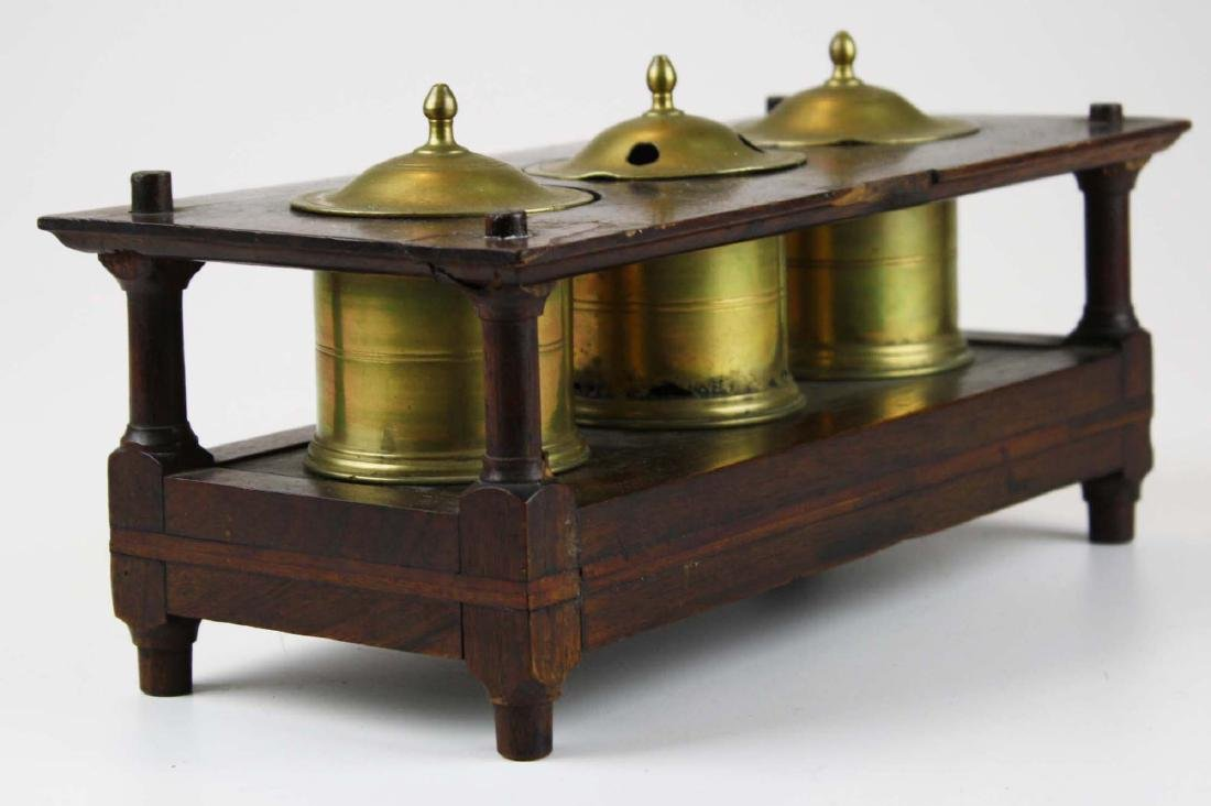 early 19th c brass & wood writing stand