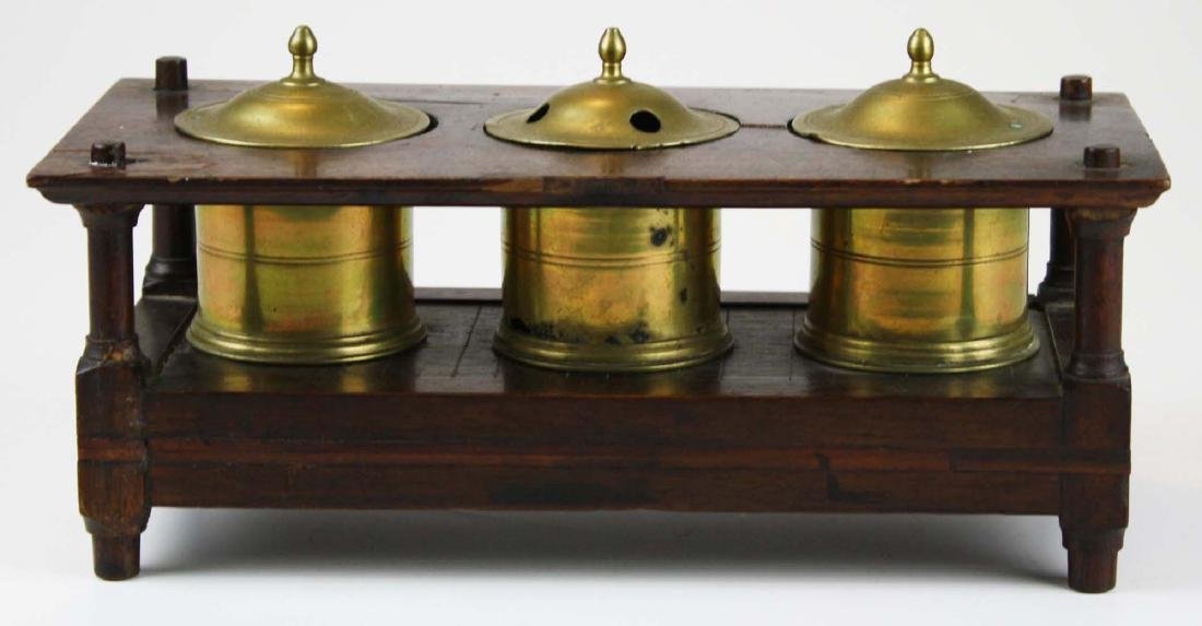 early 19th c brass & wood writing stand - 2