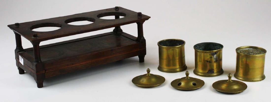 early 19th c brass & wood writing stand - 3