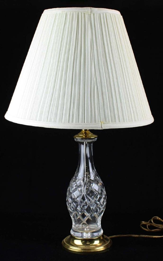 pr of late 20th c Waterford style crystal table lamps