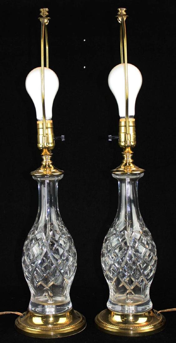 pr of late 20th c Waterford style crystal table lamps - 3