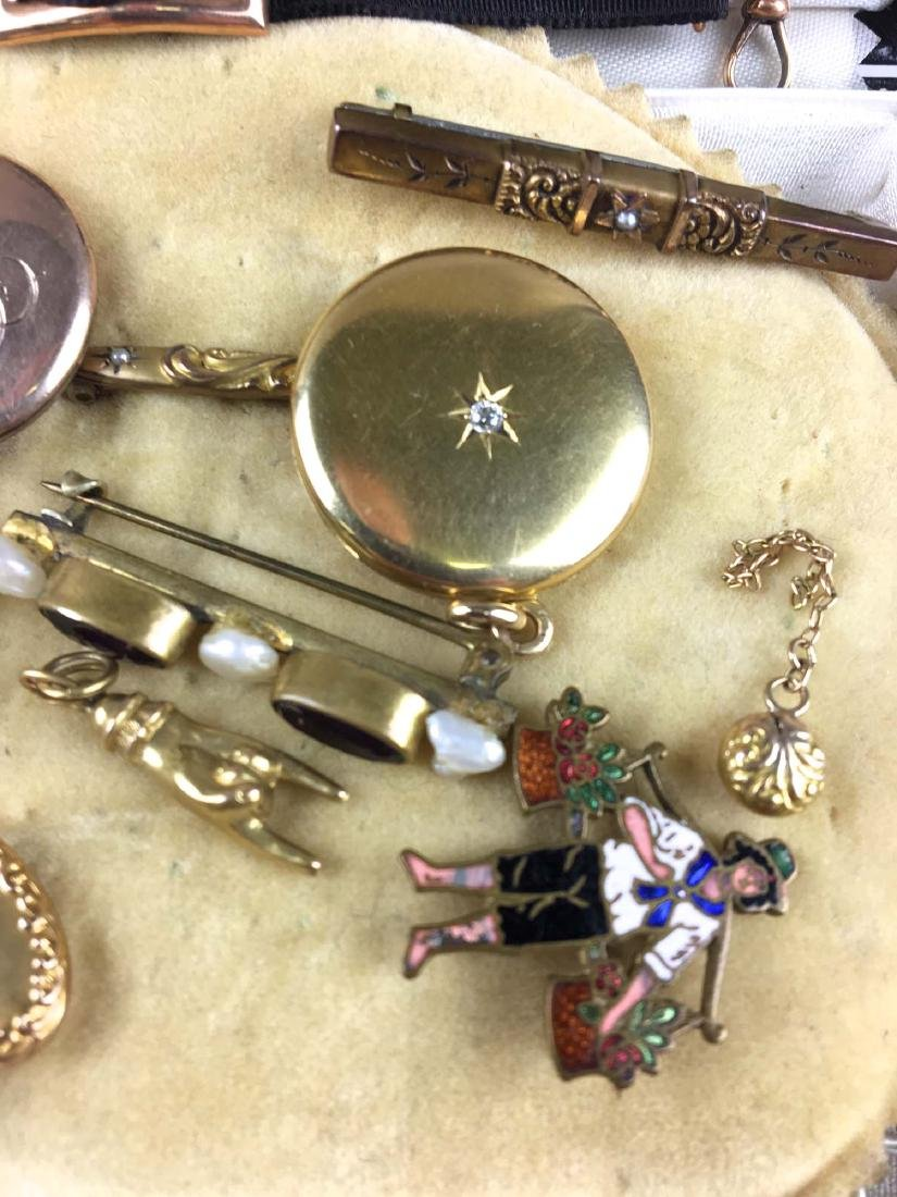 Group of gold and rolled gold pins, lockets, charms - 3
