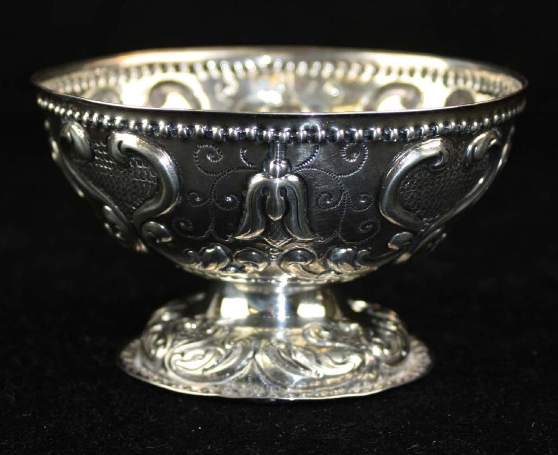 19th c. Dutch repousse silver footed bowl