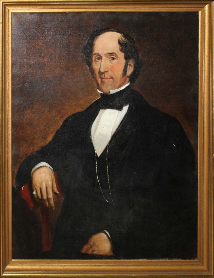 Circa 1860 American School Portrait of a Gentleman
