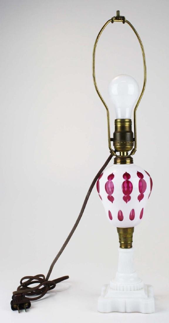 ca 1890 cranberry cameo cut cased glass oil lamp
