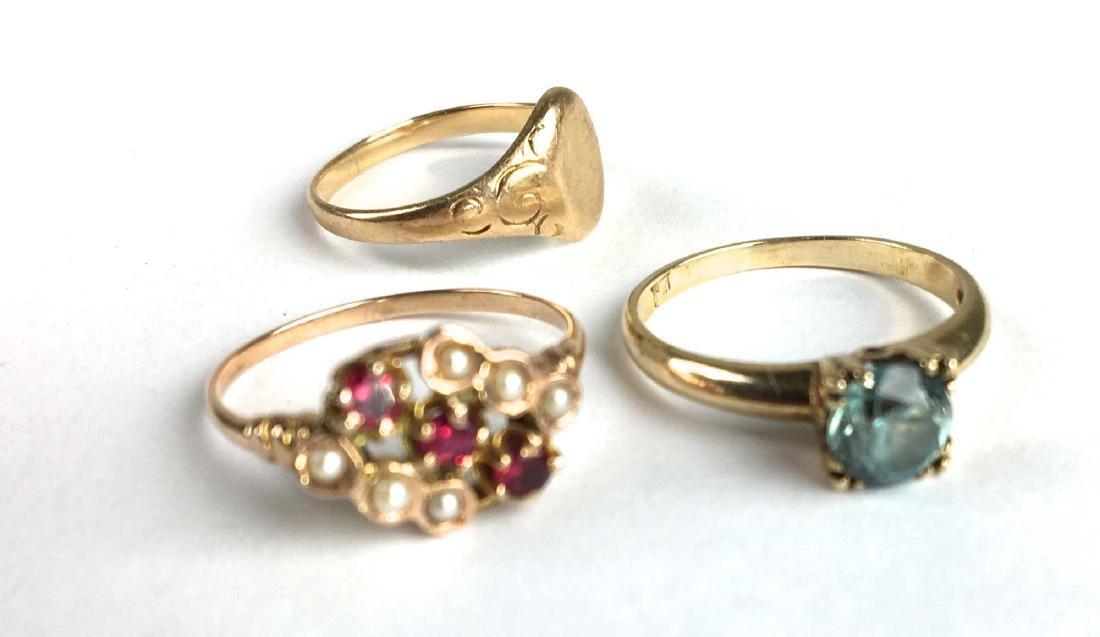 3 14k yellow gold ladies rings