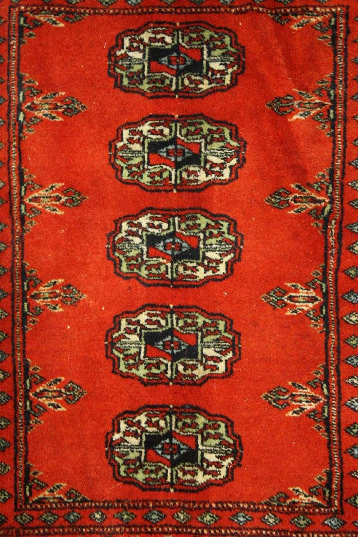 mid 20th c Tekke scatter rug, one row of 5 guls - 2
